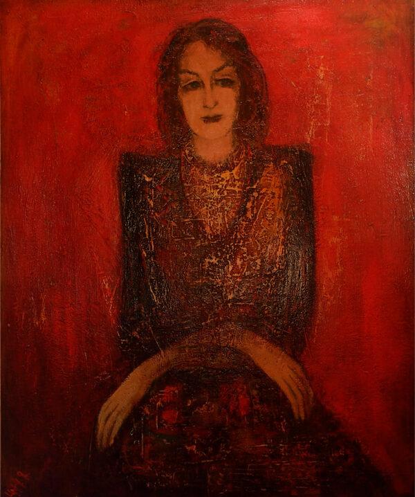 портрет на красном фоне 1988 хм 1 2 600x718 - Галерея