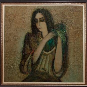 волосы х 350x350 - A Woman Styling Hair, 80x80, oil on canvas, 1991